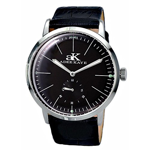 ADEE KAYE MEN'S VINTAGE SLIM 42MM LEATHER BAND AUTOMATIC WATCH AK9044-MBK-LB