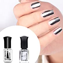 Cattie Girl - Esmalte de uñas con efecto espejo, 2 botellas, color plateado metálico