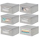 mDesign 6er-Set stapelbare Stoffbox mit Deckel für Kleidung usw. - mittelgroße Aufbewahrungskiste mit Sichtfenster - Schrank Organizer im Zickzack-Muster für Schlafzimmer oder Flur - taupe und natur