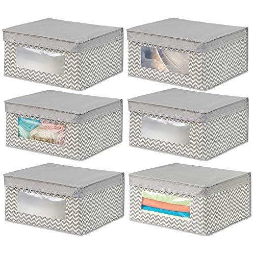 mDesign boite de rangement empilable en tissu pour habits, etc. (lot de 6) - bac de rangement moyen à fenêtre & couvercle - panier de rangement à motif zigzag pour chambre - couleur nature/taupe