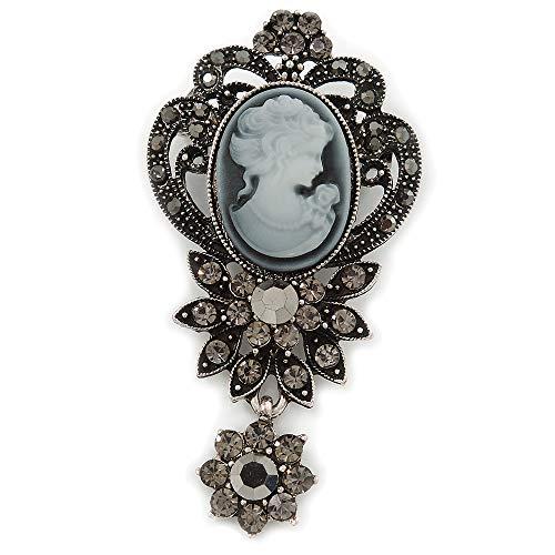 Stile Vintage, colore: grigio scuro/ematite, con Cameo In cristallo, a forma di spilla In tonalità argento antico, 65 L