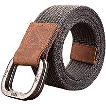 Inlefen Hombres y mujeres casual retro doble cinturón de lona de los hombres  cinturón de doble a59c57835d07