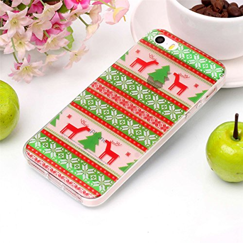 iPhone SE 5SE 5 5S Noël Coque Transparente Silicone Housse de Protection Mignonne Christmas Smartphone Coque Cover Cadeaux de Noël Etui Téléphone Portable Crystal Clear Souple TPU Anti choc Anti-rayur Tribes Elk
