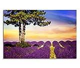 120x80cm Leinwandbild auf Keilrahmen Provence Lavendelfeld Baum Sommer Wandbild auf Leinwand als Panorama