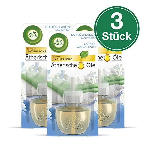 Air Wick Duftölflakon Nachfüller, Cotton & Weißer Flieder, 3er Pack (3 x 19 ml) -