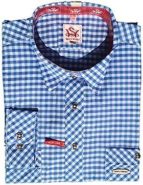 Trachtenhemd Peine | blau-weiß kariert | Langarm Gr. XS-4XL | 100% Baumwolle | Spieth & Wensky