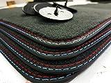 styling-4youcar Fußmatten Gummimatten Doppelnaht Rot- Blau Original Qualität Velours E90/E91 + 4 Klett