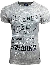 T-Shirt Kurzarm Herren Rundhals Stone Washed Optik Batik Shirt RN-16750 AVRONI, Größe:L, Farbe:Beige