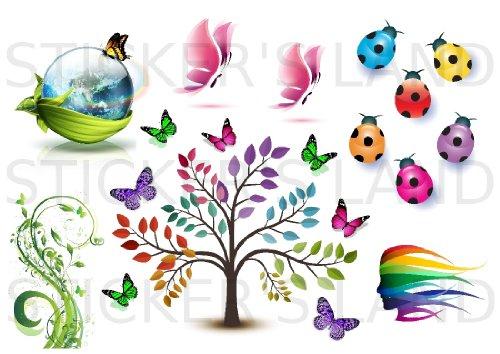 Planche de stickers décoratifs ECOLOGIE NATURE à découper