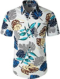 eb4744bc215 JOGAL Mens Flowers Casual Aloha Hawaiian Shirt