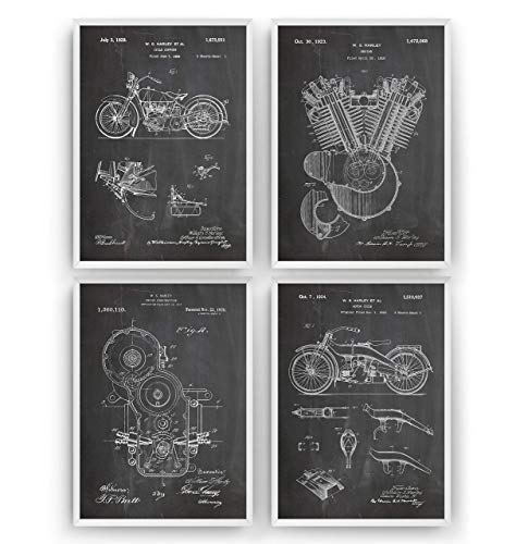 Harley Davidson Patent Posters - Satz Von 4 - Size A5 14.8 x 21 cm - Art Motorbike Gift Motorcycle Patentplakat Prints Poster Vintage Blueprint Retro Biker Wall Decor - Frame Not Included