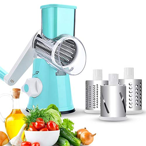 NOBGP Käseregser Rotary Handheld Gemüse-Slicer Rotary Drum Grater 3-Blades Manual Mandoline Edelstahl Chopper mit Saugcup Feet Fruit Cheese Shredder,Blue Handheld Mandoline Slicer