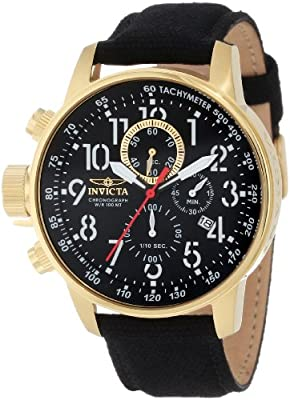 Stainless Steel Gold Case Lefty Force Chronograph Canvas And Leather Strap de Invicta