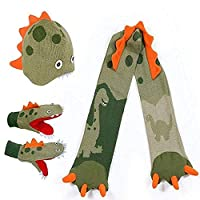 Kidorable Dinosaur Knitted 3 piece set Hat, Scarf and Stringed Mittens 3-6 years