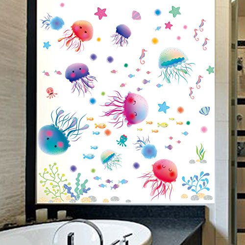Kuamai Cartoon Abnehmbare Unterwasserwelt Tier Ozean Fisch Süße Qualle Algen Wand Aufkleber Fliesen Glas Aufkleber (Ozean Süße Tiere)