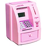 Newly Launched ATM Machine Piggy Bank With Personal Atm Card & Lcd Display For Kids (Pink)-Kids Kart