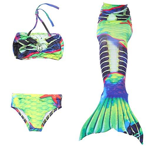 Fanryn niedlich Mädchen Meerjungfrau Schwimmanzug Stil Badeanzüge Bikini Kostüm Badeanzug Kann Monofin treffen für Kinderschwimmen Schwimm Cosplay (Tot 50er Jahre Mädchen Kostüm)