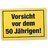 DankeDir! Vorsicht vor Dem 50 Jährigen, Kunststoff Schild - Geschenk 50. Geburtstag Männer, Geschenkidee Geburtstagsgeschenk Fünzigsten, Geburtstagsdeko/Partydeko / Party Zubehör/Geburtstagskarte
