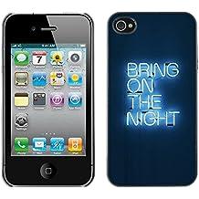 FECELL CITY // Duro Aluminio Pegatina PC Caso decorativo Funda Carcasa de Protección para Apple Iphone 4 / 4S // Party Neon Light Sign Quote