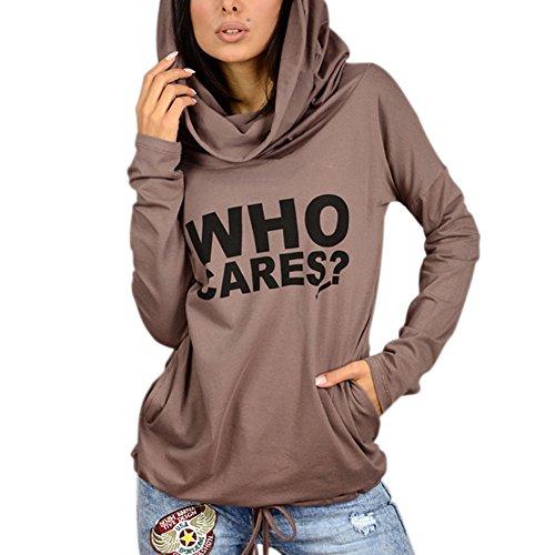 hibote Camisetas Mujer Sudaderas con capucha Tops manga larga Jumper impresión letras...