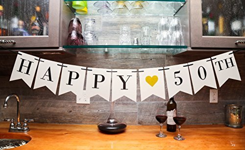 Happy 50th Birthday Banner Wedding Anniversary Decorations Milestone Party
