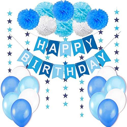 en / Junge Kindergeburtstag Deko / Geburtstag Dekoration Set. Happy Birthday Wimpelgirlande,8 Blumenpuscheln,6 Meter Girlande mit Sternen,12 Ballons Blau Weiß Türkis ()