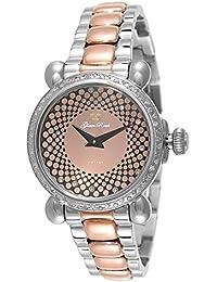 Glam Rock Vintage Damen-Armbanduhr 34mm Armband Zweifärbiger Edelstahl Schweizer Quarz Analog GR28059DS