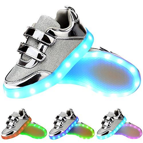 Odema LED Bunt-Blitzlicht atmungsaktiver fletter kinders Sneaker Silber