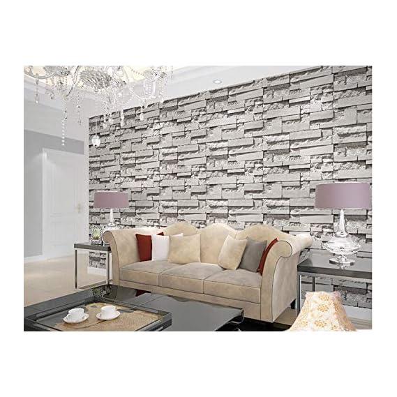 Eurotex PVC coated 3D grey Bricks wallpaper for walls home decoration (57sqft/Per roll) 57503