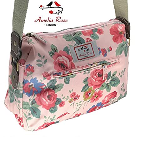 Casual Stylish Floral - Amelia Rose London® - Crossbody messenger shoulder canvas Bag - Satchel Flower Vintage Design for All small Girl, lady. & women