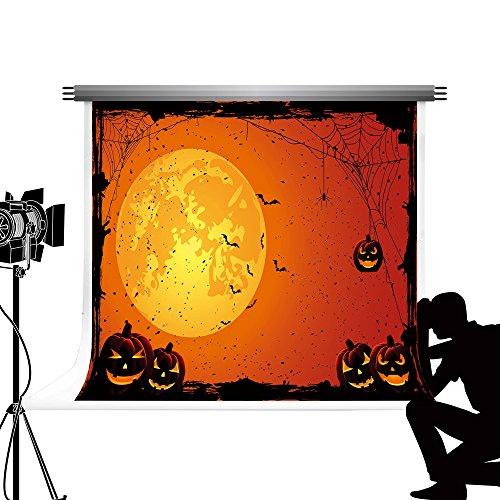 Kate Halloween Party Fotografie Hintergrund Runde Mond Nacht Hintergrund Kürbis Laterne Photocall für Fond Studio 7x5ft / 2.2x1.5m