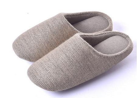 &zhou Automne et hiver Accueil chaussons coton intérieur de la maison à fond épais anti - pantoufles de dérapage FEMALEYELLOW
