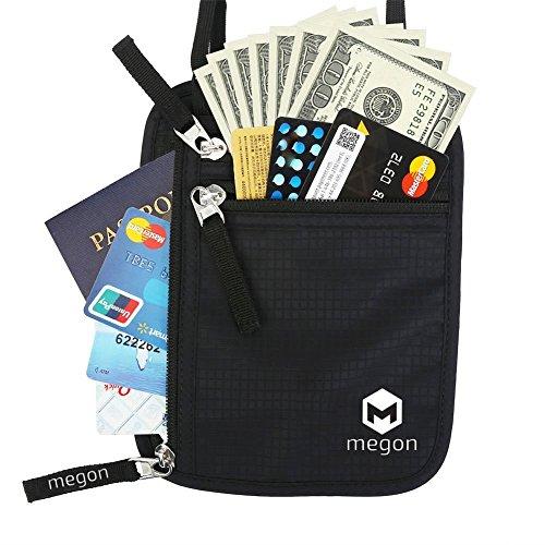 Portadocumentos de Viaje para Colgar de Cuello con Protección RFID - Organizador de Documentos, Billetes, Pasaporte, Efectivo, Dinero, Tarjeta de crédito Cartera para Hombres y Mujeres, Negro