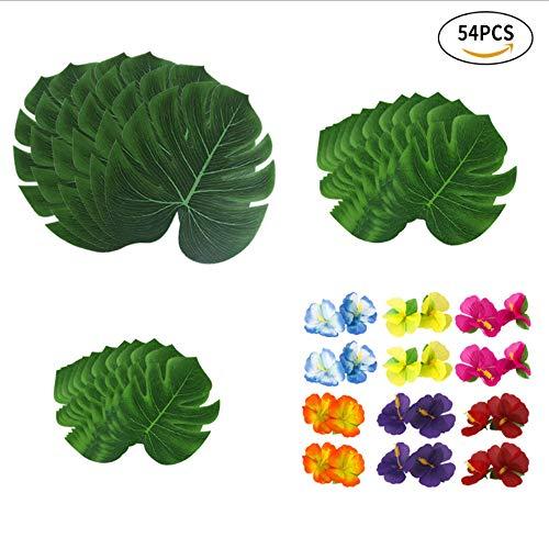 e Blumen tropische Palmblätter und Seide Hibiskusblüten Party, Hawaiian Party, Jungle Beach Theme zum Geburtstag, Home Tischdekoration (30 Stück Blätter + 24 Stück Blumen) ()