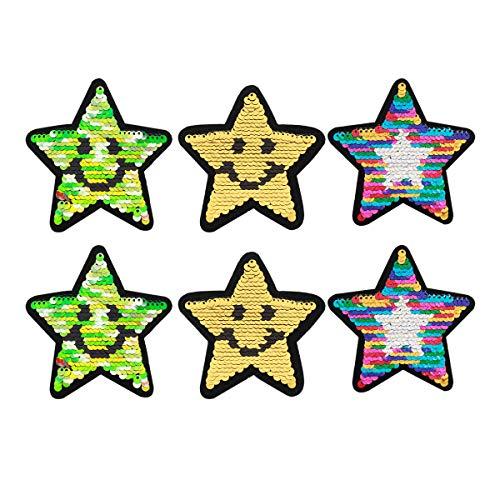 erne Aufbügler Aufnäher Bügelbild Bügeleisen auf Patches Applikation für Textilien T-Shirt Jeans Kleidung Taschen, Bunte Pailletten Sterne ()
