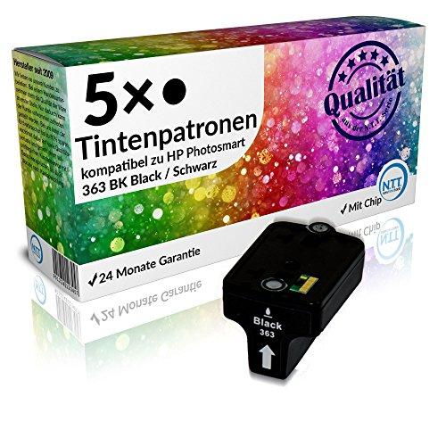 N.T.T.® - 5x Stück XL Tintenpatronen / Druckerpatronen kompatibel zu HP 363 BK Schwarz / Black, Sparpack
