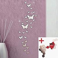 3D Miroir Stickers muraux, Yogogo Combinaison 30PC Papillon DIY Décoration