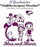 Baby & Kinder Autoaufkleber/Wandtattoo ***2 GESCHWISTER mit Ihrem WUNSCHTEXT***(Größen.- und Farbauswahl) für Auto, Kinderzimmer,Wände,Türen, Autoscheiben/Lack uvm - 10 Motive Boy & Girl zur Auswahl