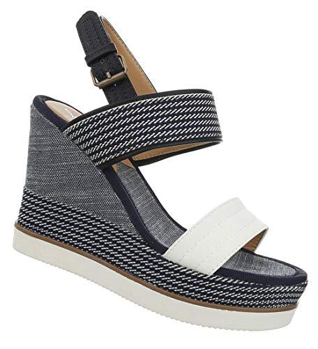 Damen Schuhe Sandaletten Keilabsatz Sommerschuhe Wedges Strandschuhe Freizeitschuhe Weiß Blau 38