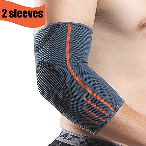 Rmolitty Ellenbogenbandage für Damen Herren, Ellenbogenschoner Kompression Für Sport Fitness Gym, Ellbogen Bandage Links & Rechts Tragbar (S, 2× Ellenbogenbandage)