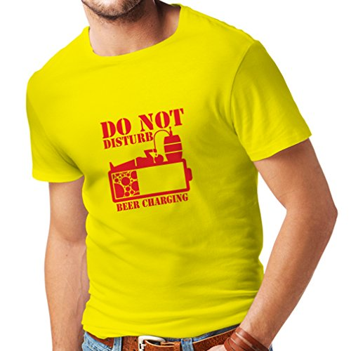 lepni.me N4222 Beer Charging T-shirt (XX-Large Yellow Red)