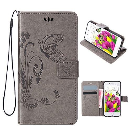 t Case, iPhone SE Ledertasche, iPhone 5 Handy Tacshe, Moon mood Geprägter Schmetterling Brieftasche für Apple iPhone 5/5S/SE (4.0 Zoll),PU Leder Hülle Wallet Case Handytasche ()