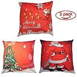 """Merry Christmas Throw Pillow Cover 3 Pack,copriletto in lino cotone decorativo Cuscino Decorativo per la casa per divano Divano Babbo Natale,Cervo invernale di Natale,Albero di Natale,Rosso,18""""x18"""""""