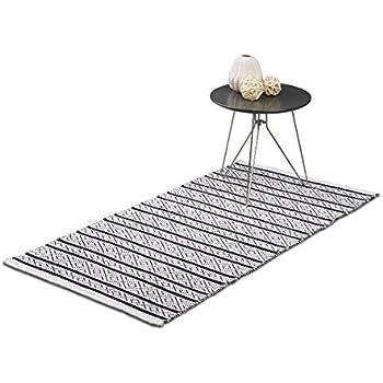 relaxdays teppich l ufer flur 70 x 140 cm handmade designer baumwollteppich modern kurzflor. Black Bedroom Furniture Sets. Home Design Ideas