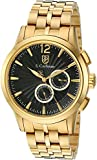 S.Coifman Men's Quartz Watch with Black Dial Chronograph Display and Gold Plated Stainless Steel Bracelet SC0270