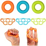 6pcs/lot Muscle Power Training Silicone Grip Ring Exerciser Set Strength Finger Hands Grip Strengthener Rings Fitness Equipment