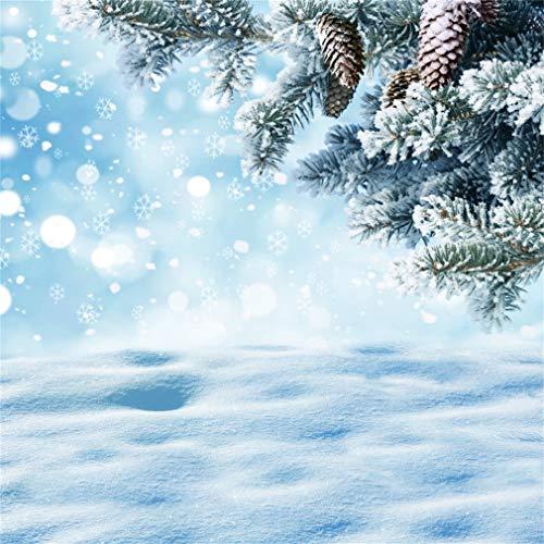YongFoto 2,5x2,5m Vinile Fondali Fotografici Natale Inverno Natale abete albero ramo e coni Sfondi Foto Partito Studio Fotografico Puntelli