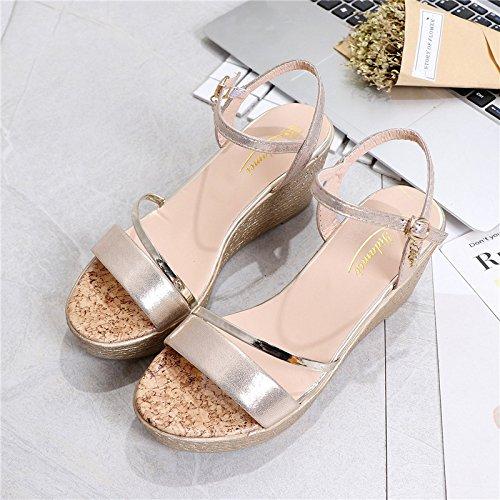 XY&GKFrau Keil Sandalen mit komfortablen Fashion Sommer Muffin Wort Schnalle Dick unten 37 gold