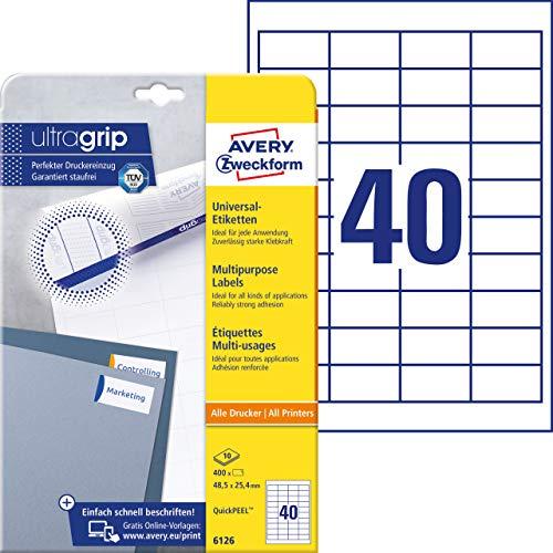 Universal Etiketten (mit ultragrip, 48,5 x 25,4 mm auf DIN A4, Papier matt, bedruckbar, selbstklebend, 400 Klebeetiketten auf 10 Blatt) weiß ()