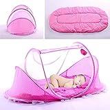 Faltbar Baby Travel Krippe mit Moskitonetz Baby Reisebett tragbar Baby Kinderbett Moskitonetz tragbar Babybetten für 0-3 Jahre Baby (rose)